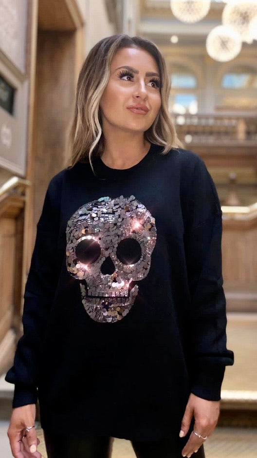 Black Sequin Skull
