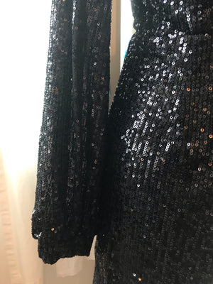 Black Sequin Crossover Dress