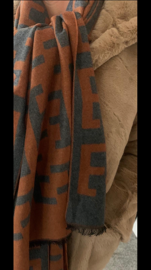 Rust & Charcoal Designer inspired scarf