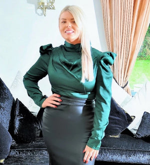 Green Blouse with Puff Sleeves