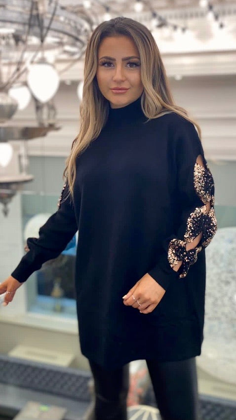 Black Bow Sequin Sleeve Jumper Dress