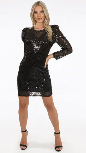 Black Sparkly Sequin Dress