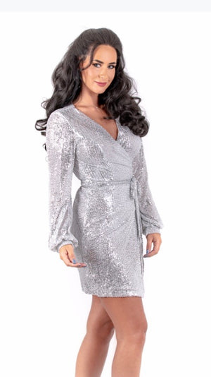 Silver Sequin Crossover Dress