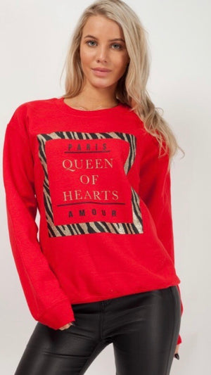 Vibrant Red Queen of Hearts Sweatshirt