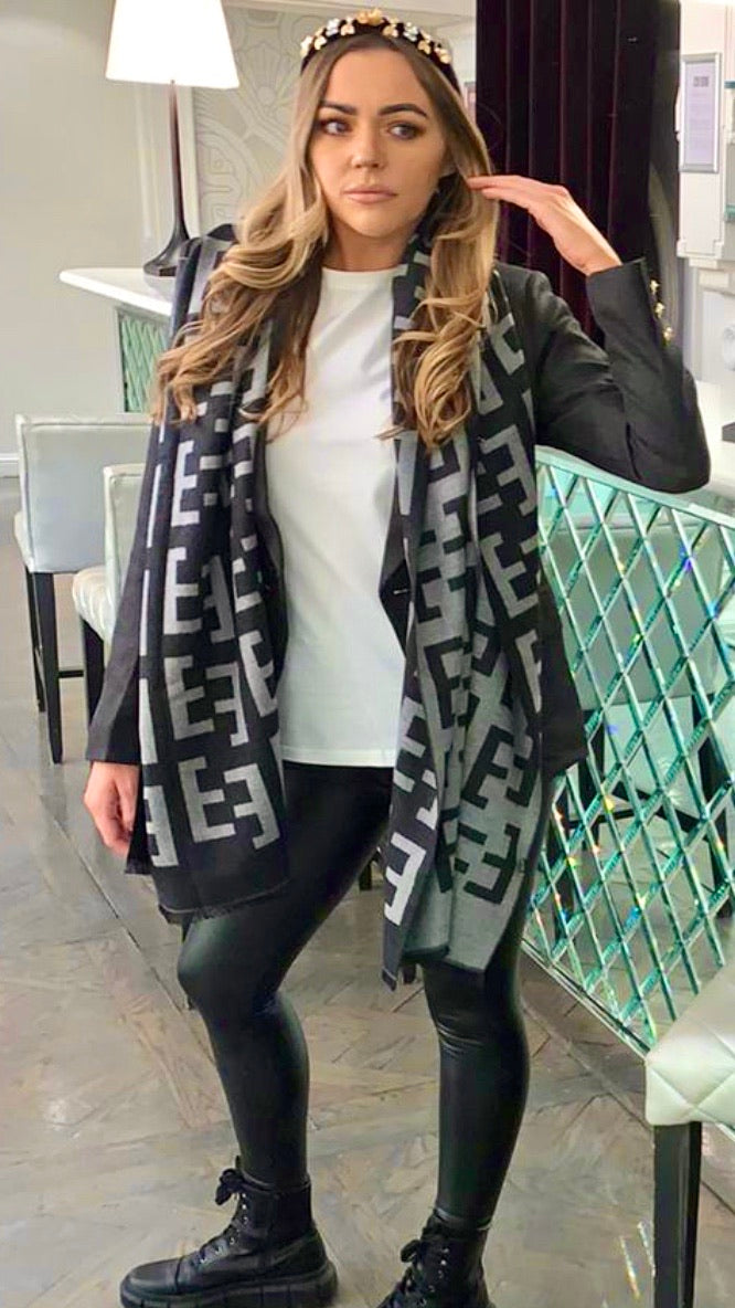 Light Grey & Charcoal Designer inspired scarf
