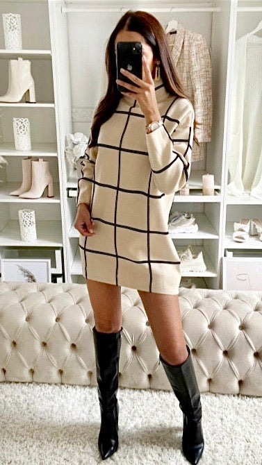 Chequered Jumper Dress