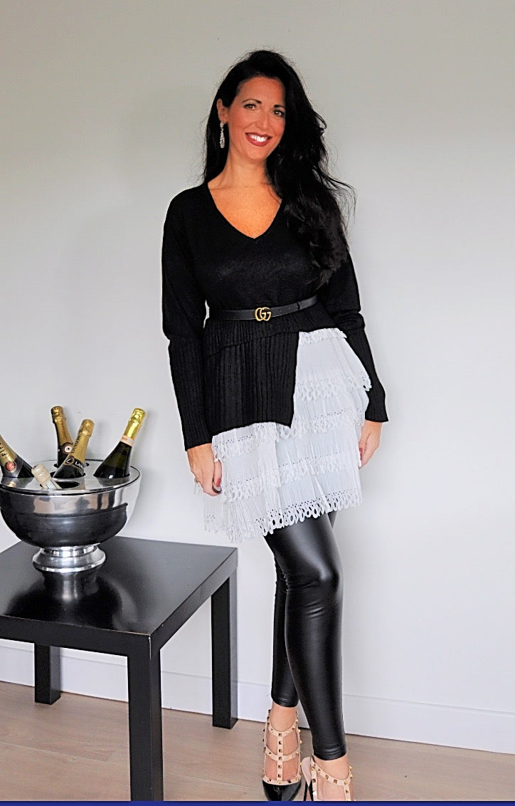Black Asymmetric Layered Hem Jumper