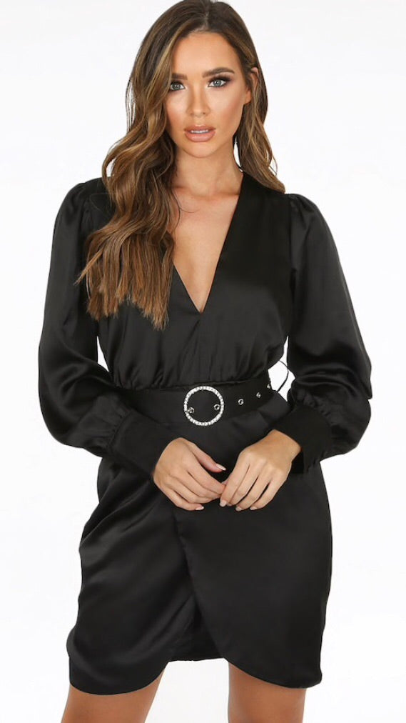 Black Diamante Buckle Satin Dress