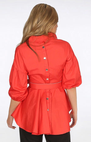 Cherry Red Peplum Belted Top