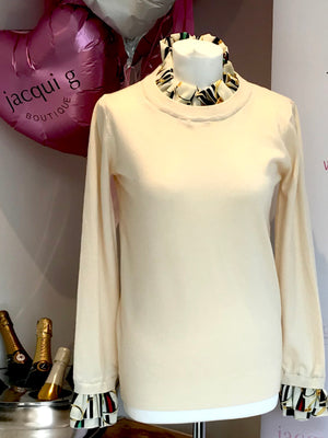 Cream Ladies Chain and Belt Cuff and Collar Jumper