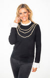 Black Ladies Pearl Knit Jumper