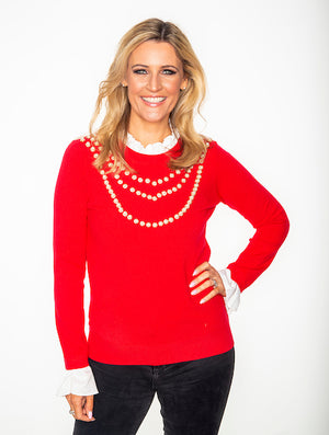 Red Ladies Pearl Knit Jumper
