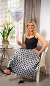 Ladies Love Heart Black and Silver Skirt