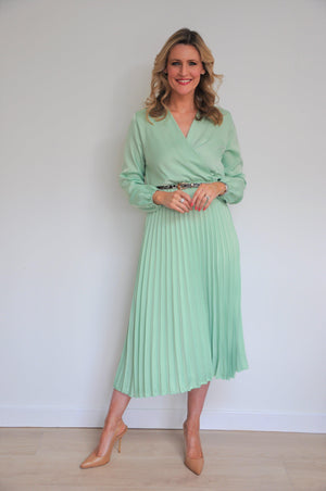 Ladies Long Mint Pleated Dress