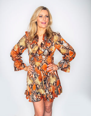 Orange Tie Snake Skin Dress
