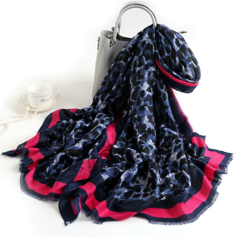 Pink and Blue Leopard Print Scarf