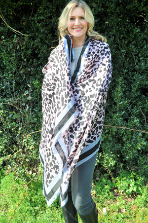 Pink Grey and Black Leopard Print Scarf
