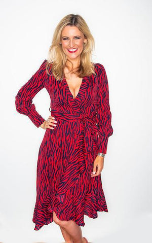 Ladies Red and Navy Zebra Wrap Dress