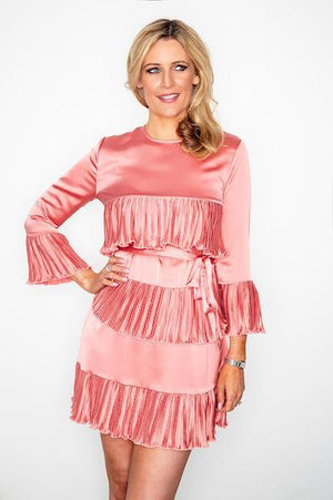 Ladies Short Rose Champagne Ruffle Dress with Tie Belt