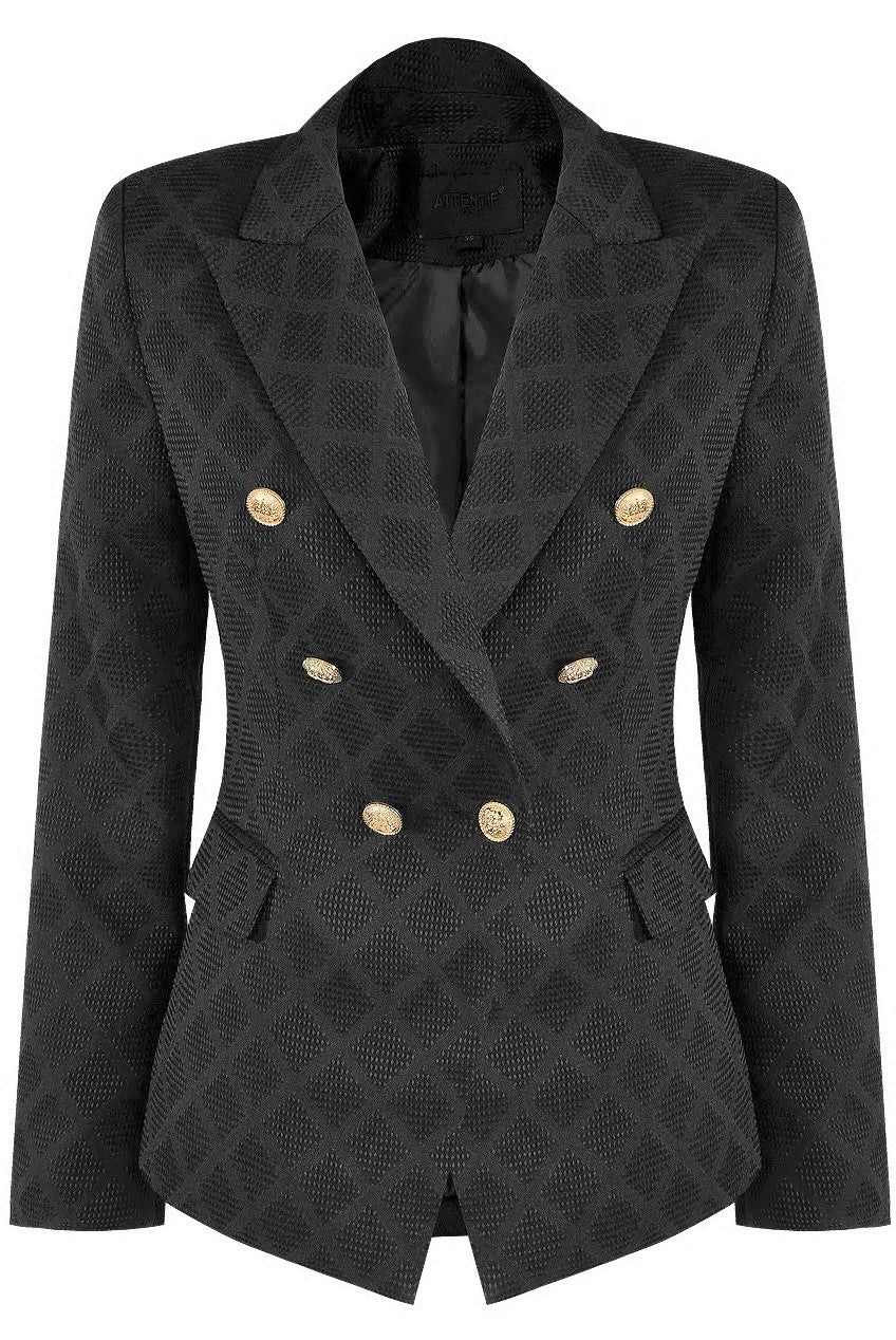 Black Textured Lattice Double Breasted Blazer