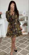 Yellow Animal Print Tie Dress