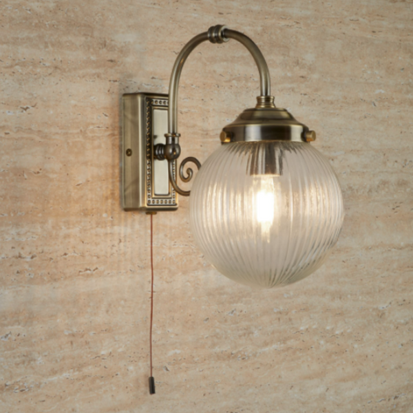 3259AB BELVUE 1LT BATHROOM IP44 WALL LIGHT, CLEAR GLOBE SHADE, ANTIQUE BRASS