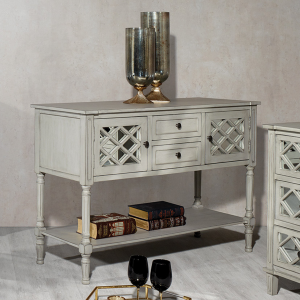 Dove Grey Mirrored Pine Wood Dresser K/D