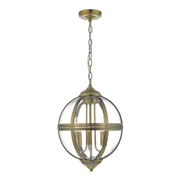 Dar 3 Light Fitting Antique Brass And Clear