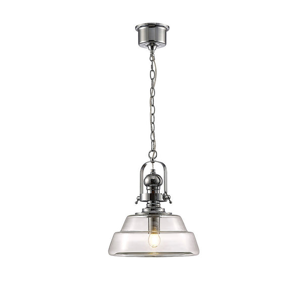 Reyna Single Medium Pendant 1 Light E27 Polished Chrome/Clear Glass