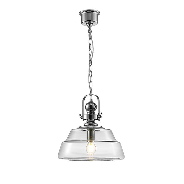 Reyna Single Large Pendant 1 Light E27 Polished Chrome/Clear Glass