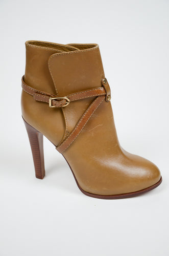 Tory Burch Caramel Leather Booties Sz 8.5