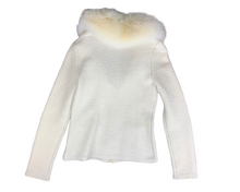 Dana Buchman Cream Wool Jacket With Fur Collar