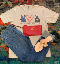 "Labels Graphic Tee- ""Peace Love Sanitize"""
