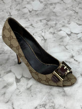 Gucci Brown Logo Peep Toe  Pumps Sz. 8.5