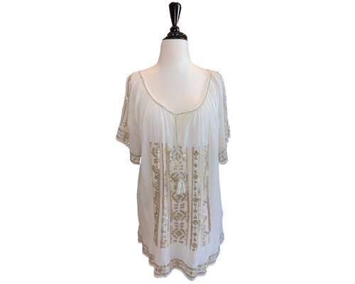 Calypso White Gauze Beaded Peasant Top