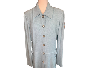 St. John Powder Blue Knit Dress Coat Topper