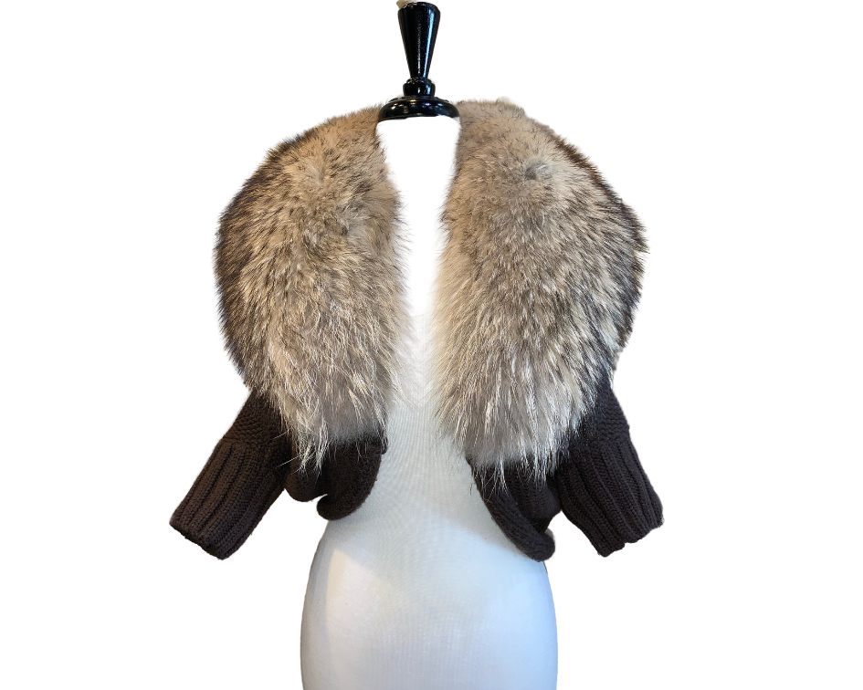 Alice & Olivia Knit Cardigan With Asiatic Raccoon Fur