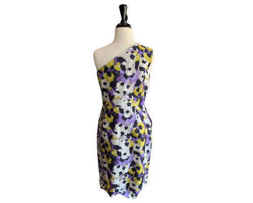 St. John Purple Floral One Shoulder Sheath Dress