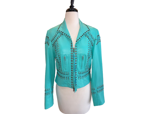 Double D Turquoise Leather Jacket