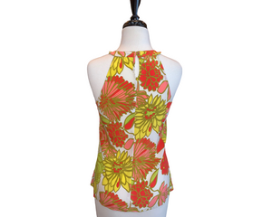 Trink Turk Multi-Color Floral Print On White Halter Silk Top