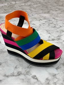 Prada Wedge Heel Sandal Shoes Sz. 9