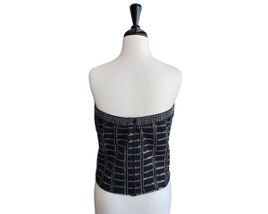 St. John Strapless Crystal Black Knit Top