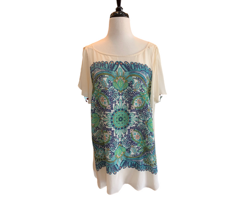Maeve Green & Turquoise Print Silk Tunic