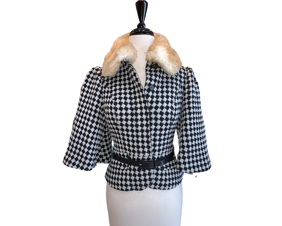 Tracy Reese Harlequin Jacket With Detachable Fur Collar