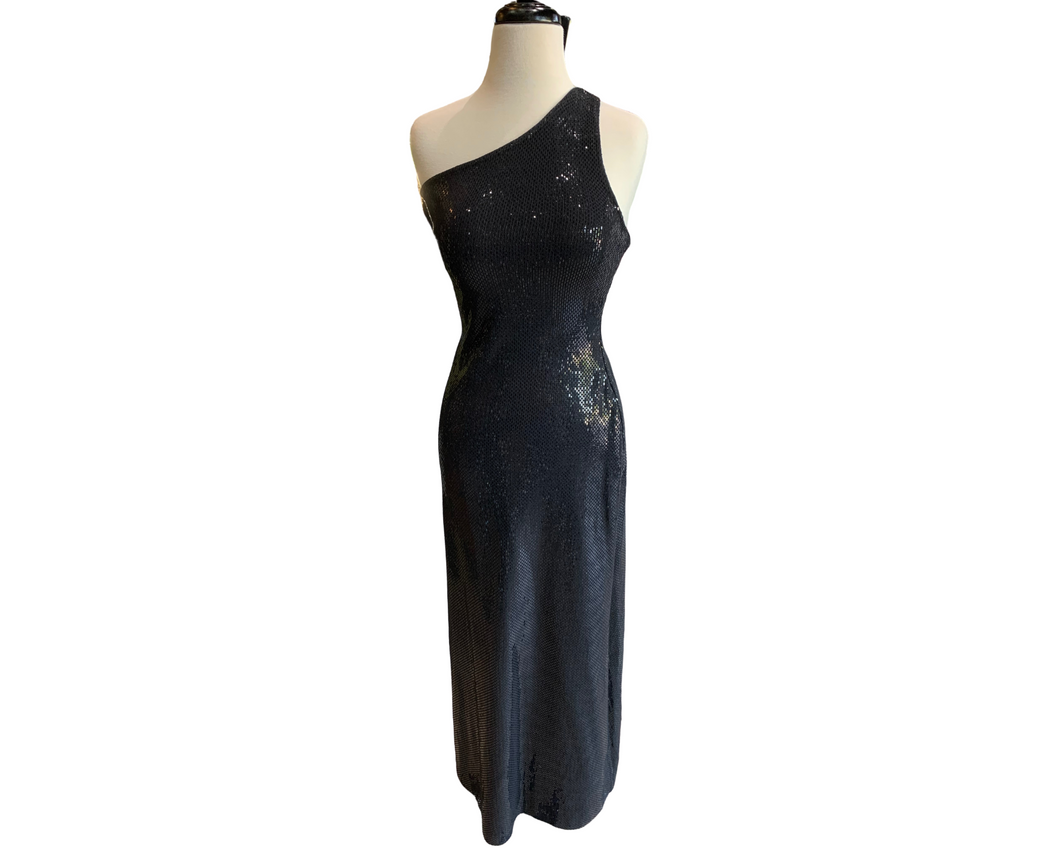 St. John Black Knit Column Gown