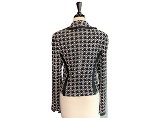 St. John Black & White Checkered Wool Knit Jacket