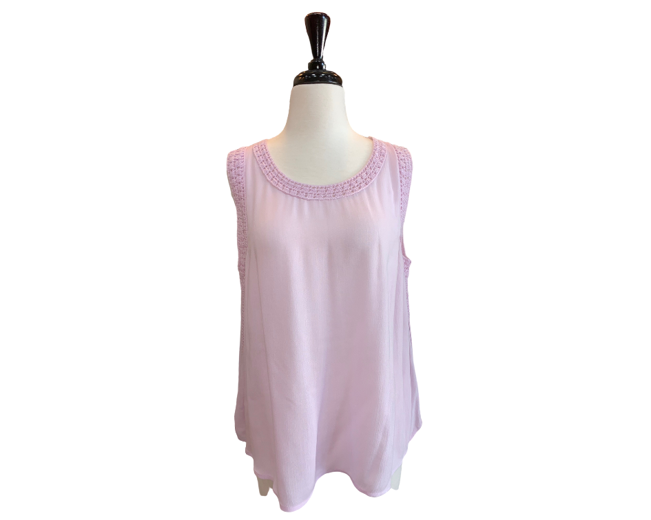 525 Pink Sleeveless Crochet Top