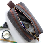 Felt & Leather Toiletry Bag