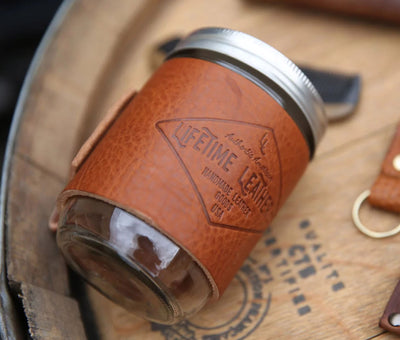 Leather Mason Jar Coozie