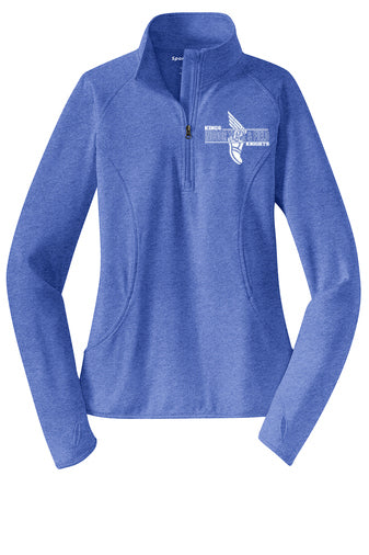 Kings Indoor  T&F Ladies  1/4 Zip Performance Pullover (Choose blue, red, or  charcoal  heather)